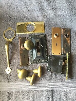 Lot Of Vintage Antique Door Knob Plates Mortise door Locks Hardware