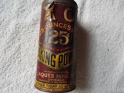 Vintage KC BAKING POWDER TIN  25 cents, Jaques Mfg, Chicago