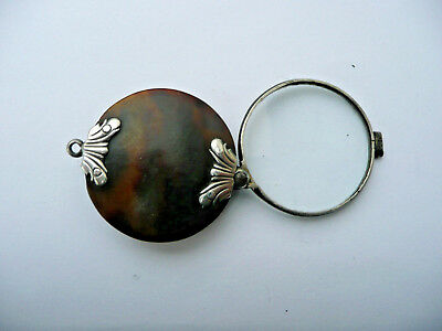 18th 19th CENTURY GEORGE III FAUX TORTOISE SHELL MAGNIFYING GLASS ,SILVER MOUNTS