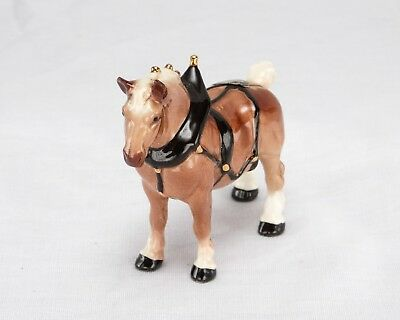 Hagen Renaker Mini Belgian Draft Horse In Harness w/ Gold Trim bobs Clydesdale