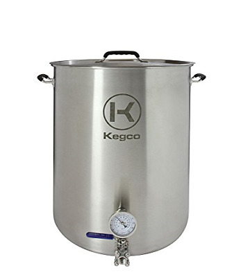 Kegco 30 Gallon Brew Kettle with Thermometer & 3-Piece Ball Valve