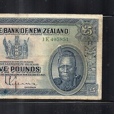 NZ 1934 - 40 L. Lefeaux Five Pound Banknote- 1K Early Number Letter Type -Scarce
