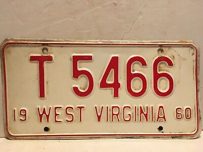 1960 WEST VIRGINIA LICENSE PLATE - TAG T 5466 Red & White