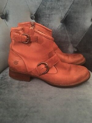 c83dbc1a878 BORN RAISA BROWN Leather Strap Zip Ankle Boots Women's Size 9 RARE Booties