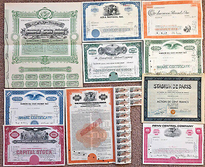 Mixed Lot Set > 21 stock and bond certificates all unique with great vignettes!
