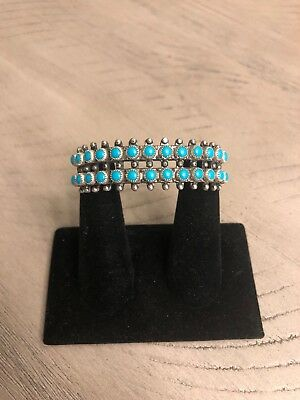 Old Pawn Vintage Zuni Bracelet Cuff With Turquoise Heavy