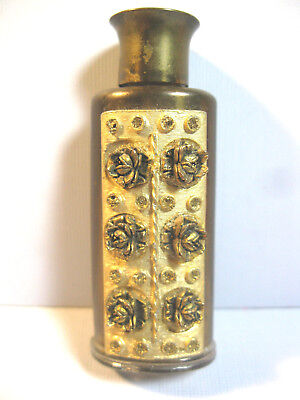 Vintage Mini Perfume Bottle Brass W/3D Roses On Front 2 1/2""