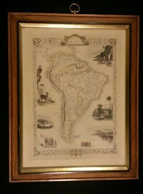 John Tallis & Co New York London South America Framed Map Antique Vintage Color