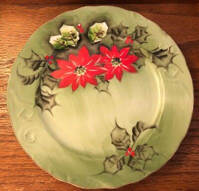 "1 Lefton China Poinsettia 4396 Limited Edition 9""  plate"