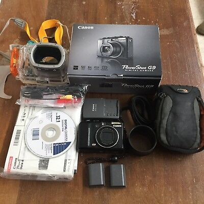 Canon PowerShot G9 12MP Camera Waterproof Case.  Lots Of Extras.