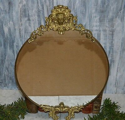Antique French Bronze Ormolu Figural Vanity Mirror Tray or Wall Mount