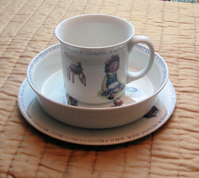NEW QUEEN'S CHINA Nursery Rhyme Set (Cup Bowl Plate) Little Miss Muffet