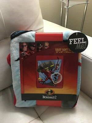 "Authentic Disney Pixar Incredibles 2 soft throw blanket 40"" X 50"" Free Ship"