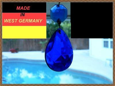 Vintage Cobalt Blue Tear Drop Crystal Prisms Chandelier Lamp Part