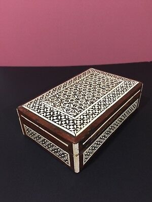 Antique Premium Quality Orient ESyria Handmade Mosaic Inlay Wood Jewelry box