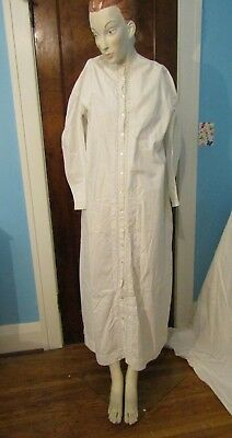 Antique Victorian Women's White Cotton Long Sleeved Nightgown LOT 2