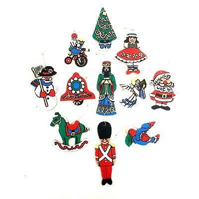 Vintage Flat Wood Wooden Christmas Ornaments Hand Painted Mixed Lot of 11