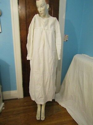 Antique Victorian Women's White Cotton Long Sleeved Nightgown