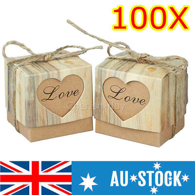 100Pcs Rustic Kraft Paper Candy Gift Boxes Wedding Birthday Baby Shower Favor Z