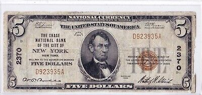 $5 1929 T1 Chase National NEW YORK NY Nice Circulated Note!