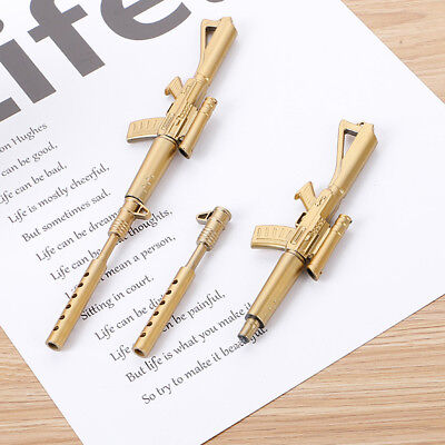 2PC 0.5mm Gold Rifle Shape Black Ink Ballpoint Pen Stationery School Office Gift
