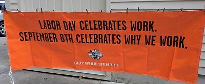 Harley Davidson banner poster sign Large Orange Labor Day