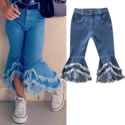 Toddler Kids Baby Girls Long Jeans Pants Girl Denim Flare Trousers Bottoms 2-7Y