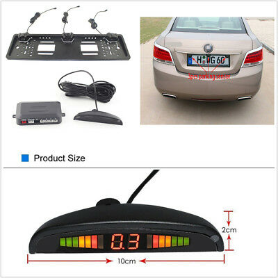 Car European License Plate Frame Reversing Parking Radar 3 Sensor Monitor System