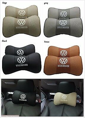 PAIR of Real Leather Headrest for VOLKSWAGEN Cowhide NeckCushion Car Seat Pillow