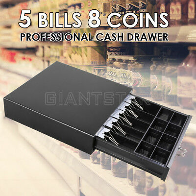 Manual/Electronic Cash Drawer Heavy Duty 5 Bills 8 Coins Cash Register POS Tray
