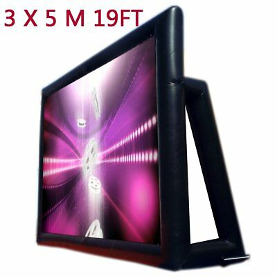 5*3m Inflatable Portable Outdoor Movie Screen Cinema Home Theatre 19FT US STOCK@
