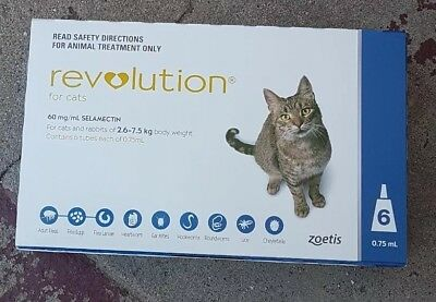 Revolution for Cats - Flea & Worm Treatment  2.6-7.5kg - 6 pack . Free Postage