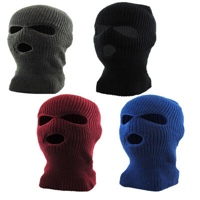 3 Hole Ski Mask Warm Thick Fleece Lined  Winter Ski Hat face mask cap skully