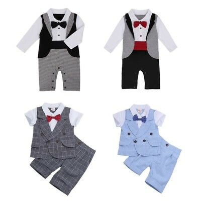 Baby Boys Tuxedo Gentleman Suit Romper Jumpsuit Kids Formal Party Casual Outfits