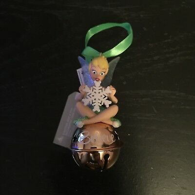 "Disney World Tinker Bell ""Believe"" Snowflake Jingle Bell Christmas Ornament"