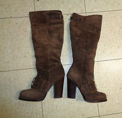 Nine West Vintage America Throwdown Knee High Boots Brown Suede Leather Size 8M