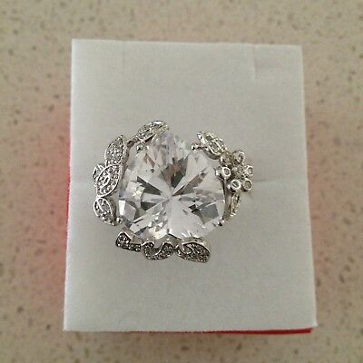 Huge heart clear stone sterling silver ring size N and a half