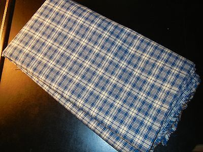 Vintage Cotton Blend / White Navy Small Plaid / 3yds Home Decor Fabric