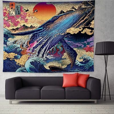 Colorful Tapestry Sea Whale Paint Wall Hanging Art Bedspread Throw Home Decor