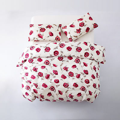4 Piece Duvet Cover With Pillow Case + Fitted Bed Sheets Quilt King Size Anemone