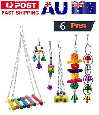 6pcs Pet Parrot Bird Chew Toy Cages Hang Toys Wood Large Rope Cave Ladder Bells