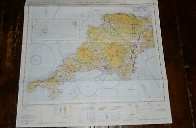 SOUTH WEST ENGALAND Topographical Air Chart Plan Map PLYMOUTH, DARTMOOR etc.