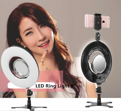 8 inch Dimmable 5500K LED Ring Light Kit w/ Stand for Makeup Phone Selfie Video