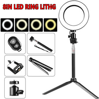 """8"""" LED Studio Ring Light Photo Video Dimmable Lamp Light For Camera/ Phone NEW"""