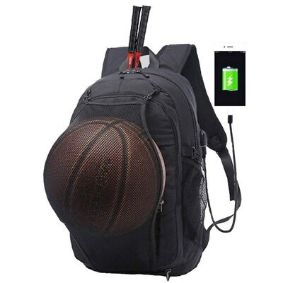 AU Men's Basketball Net Laptop Backpack Bag with USB Charging Sport Black/Grey