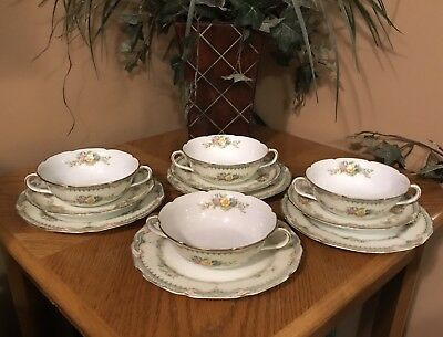 RARE Vintage Noritake Field Japan Cream Soup Bowls & Under Plates Floral Set