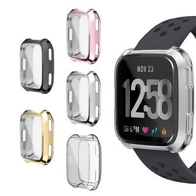 Fitbit Versa Case TPU Plated Screen Protector Full Cover Bumper Case Protector