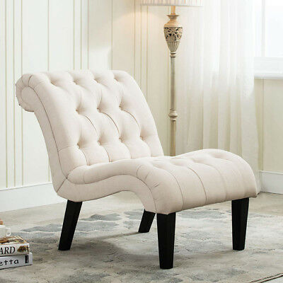 Linen Upholstered Accent Chair Backrest Lounge Chairs Armless Living Room Ivory