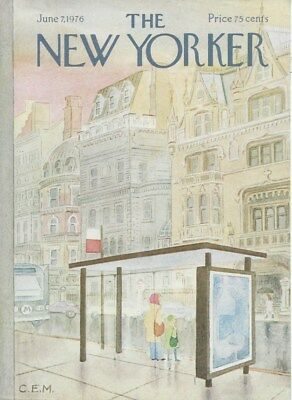 COVER ONLY The New Yorker magazine ~ June 7 1976 ~ MARTIN ~ Brownstones bus stop