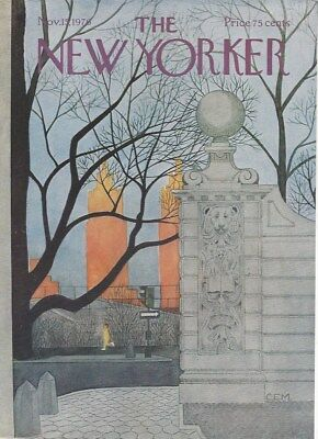 COVER ONLY ~The New Yorker magazine  ~MARTIN ~November 15  1976 ~ Central Park